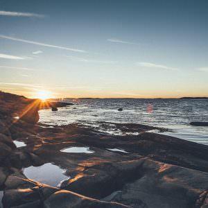 Sunset over a beach in Scandinavia