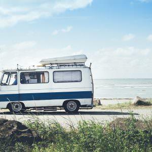 Van by the beach in Scandinavia