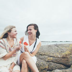 Girls at the beach in Scandinavia